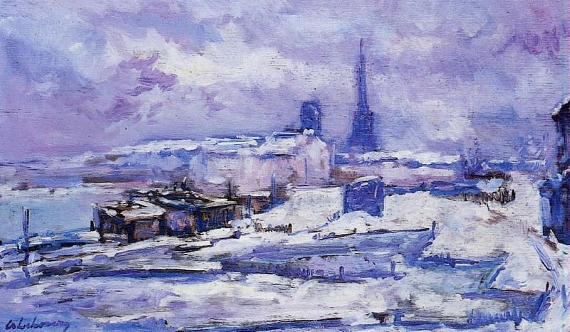 Rouen Snow Effect. Albert-Charles Lebourg