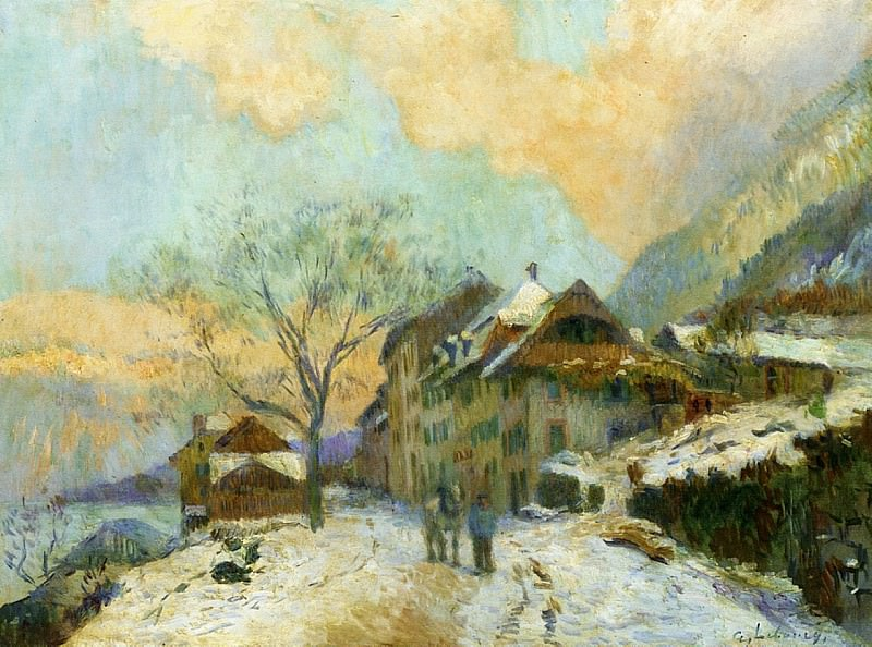 The Banks of Lake Geneva at Saint Gingolph in winter with Snowy Weather. Albert-Charles Lebourg