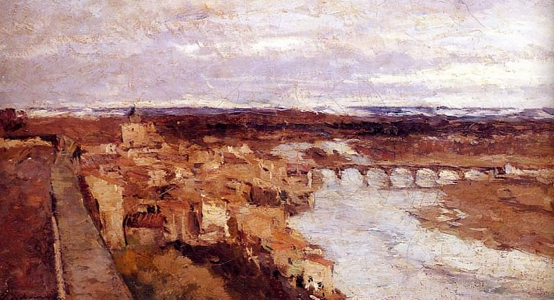 View of the Town of Pont du Chateau. Albert-Charles Lebourg