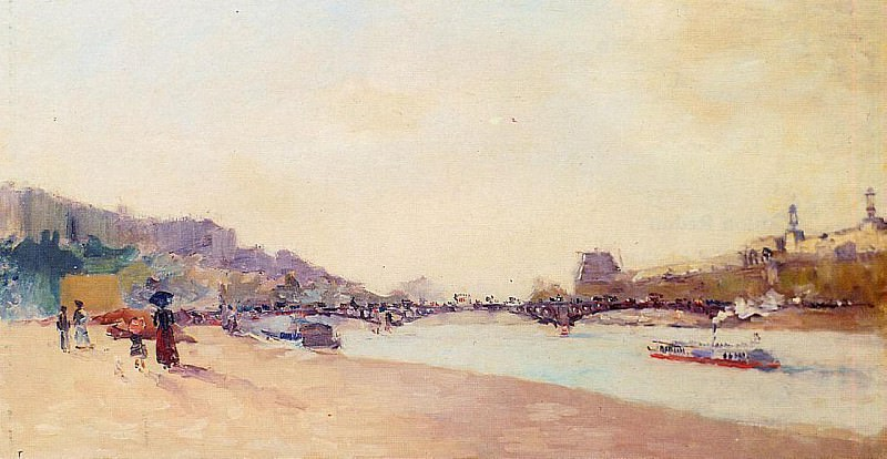 Paris the Seine and the Pont des Saint Peres with the Louvre. Albert-Charles Lebourg