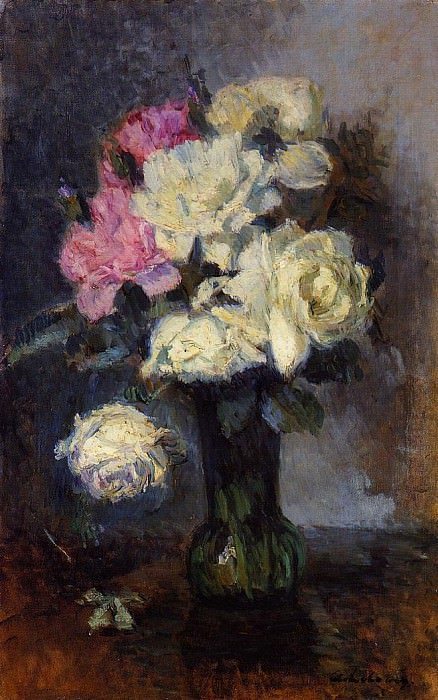 Bouquet of Roses in a Vase. Albert-Charles Lebourg