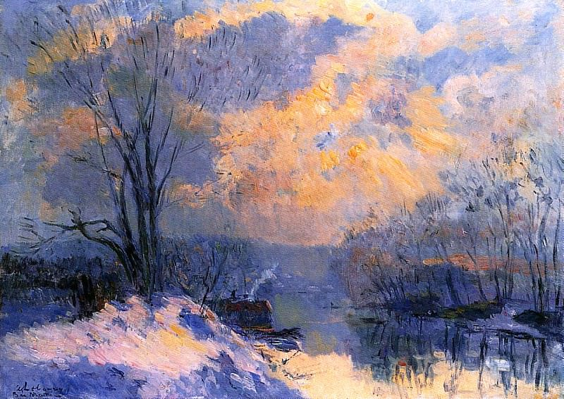 The Small Branch of the Seine at Bas Meudon Snow and Wiinter. Albert-Charles Lebourg