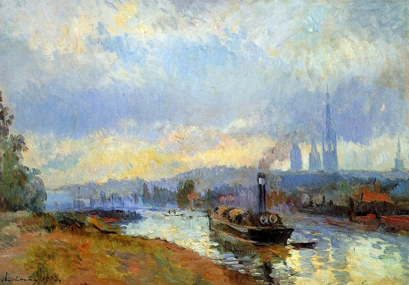 Tow boats in Rouen. Albert-Charles Lebourg