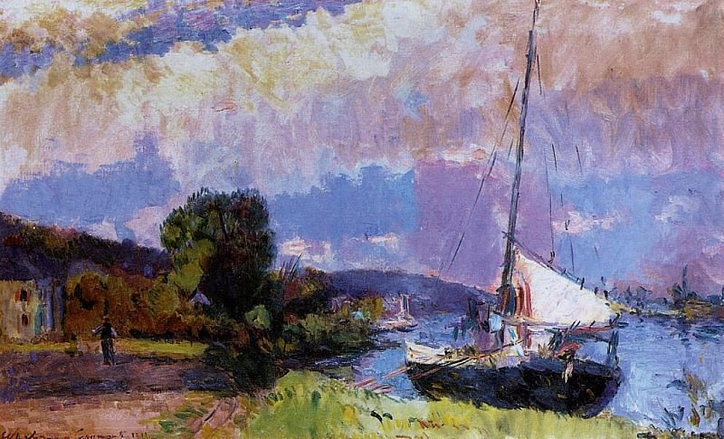 The Banks of the Seine Caumont in Summer. Albert-Charles Lebourg