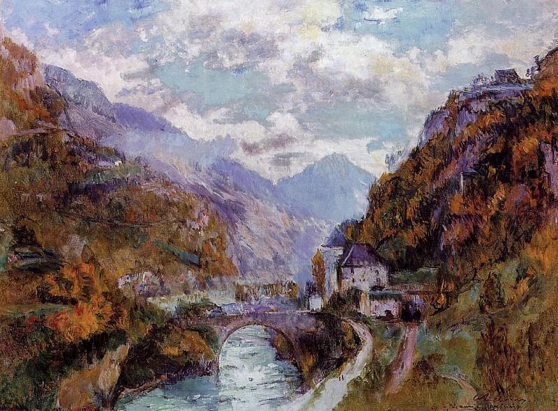 The Rhone at Saint Maurice Valais aka Switzerland. Albert-Charles Lebourg