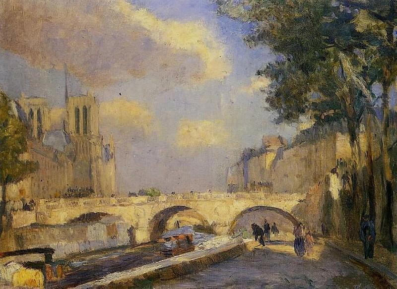 La Seine a Paris au Pont Notre Dame 1902. Albert-Charles Lebourg