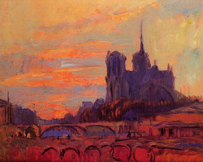 View of Notre Dame and the Seine. Albert-Charles Lebourg