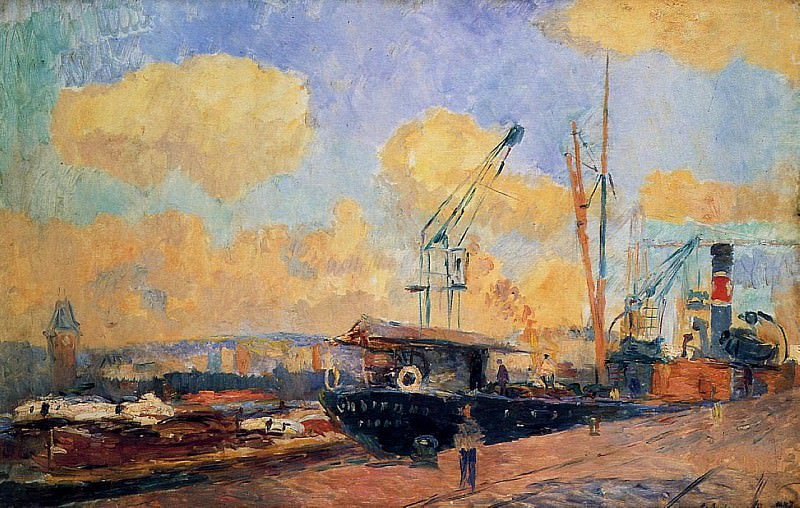 Steamers and Barges in the Port of Rouen Sunset. Albert-Charles Lebourg