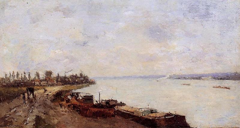 Barges on the Seine near Paris. Albert-Charles Lebourg