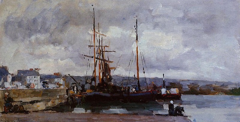 The Port of Rouen Grey Weather. Albert-Charles Lebourg