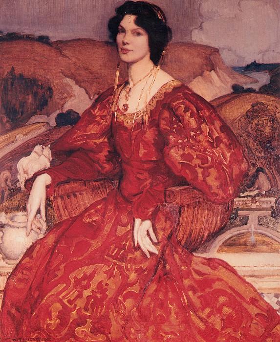 Сибил Уокер в красном с золотом платье. Джордж Ламберт