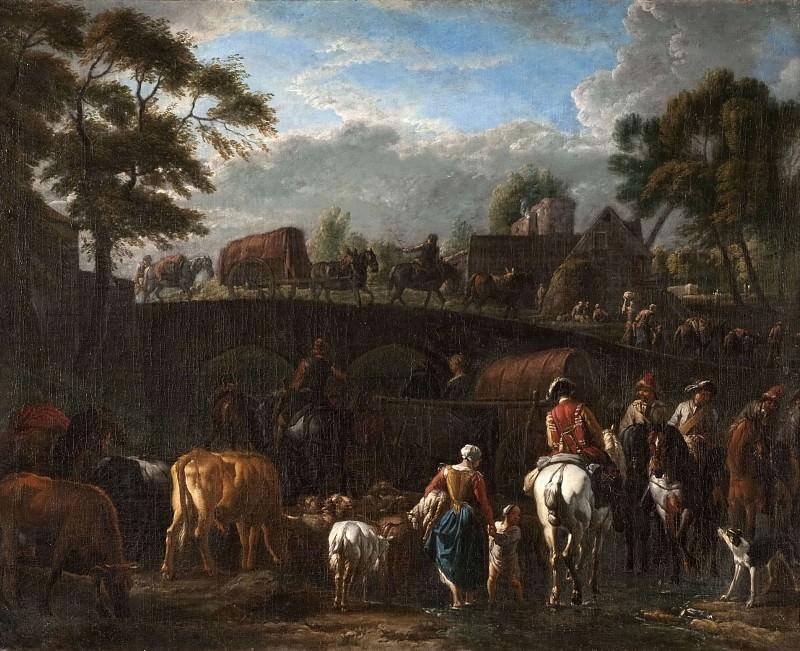 Landscape with Peasants, Soldiers and Cattle. Pieter van Bloemen