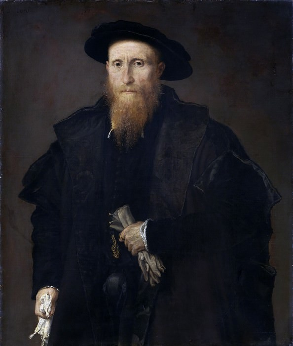 Portrait of a gentleman with gloves. Lorenzo Lotto