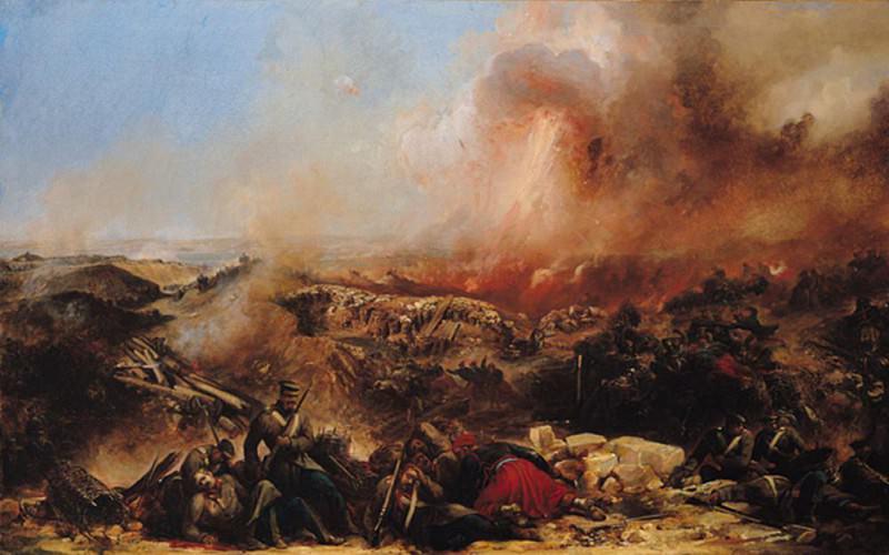The Battle of Sebastopol, left section of triptych. Jean Charles Langlois