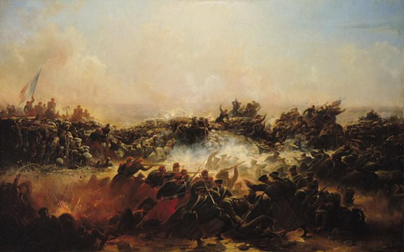 The Battle of Sebastopol, right hand section of triptych. Jean Charles Langlois