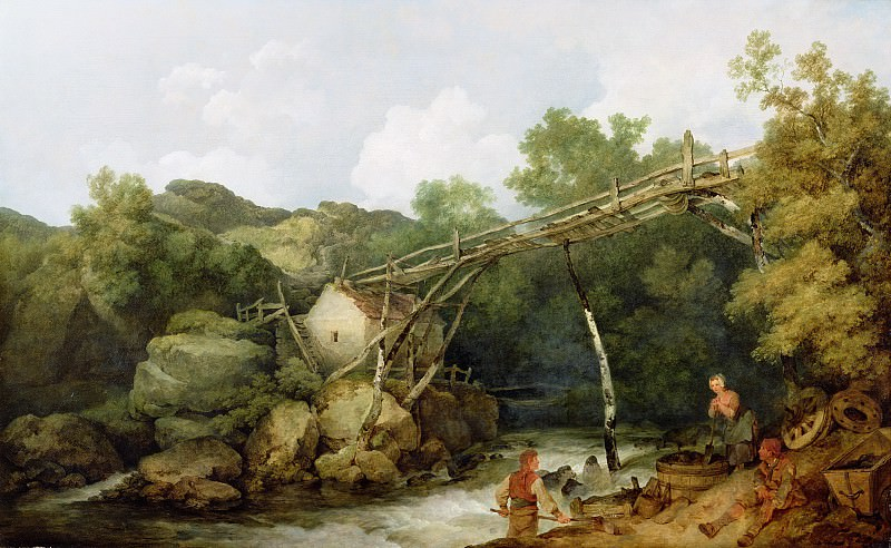 A View near Matlock, Derbyshire with Figures Working beneath a Wooden Conveyor. Philip James de Loutherbourg