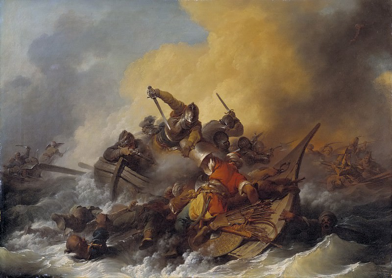 Battle at Sea between Soldiers and Oriental Pirates. Philip James de Loutherbourg