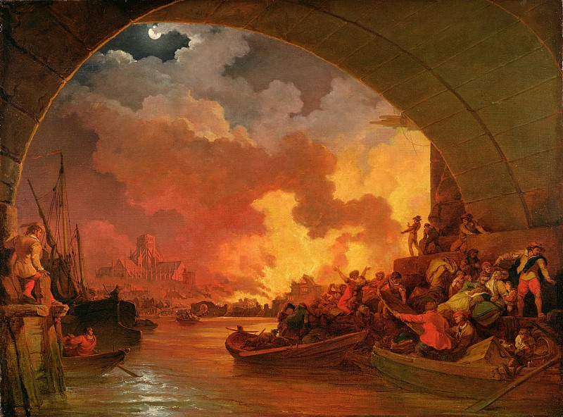 The Great Fire of London. Philip James de Loutherbourg