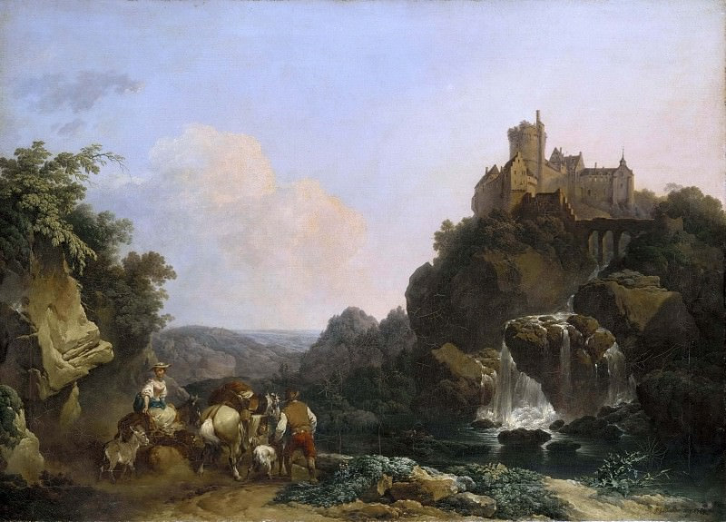 Landscape with Waterfall, Castle and Peasants. Philip James de Loutherbourg