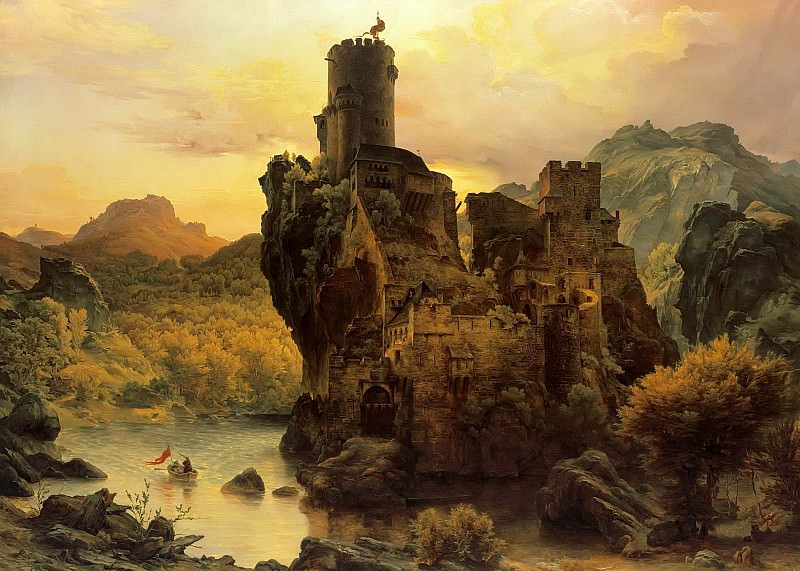 Knights Castle on a Rock. Karl Friedrich Lessing
