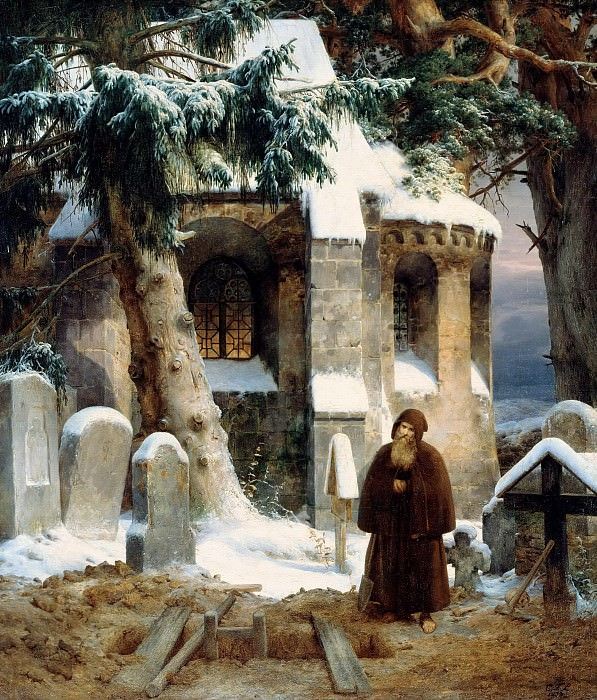 Cloister Cemetery in the Snow. Karl Friedrich Lessing