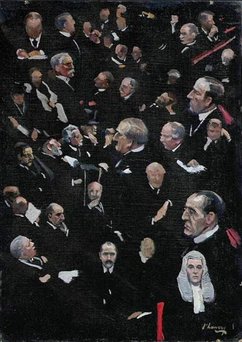Эскиз, Палата лордов, виконт Морли, 14 декабря 1921. сэр Джон Лавери