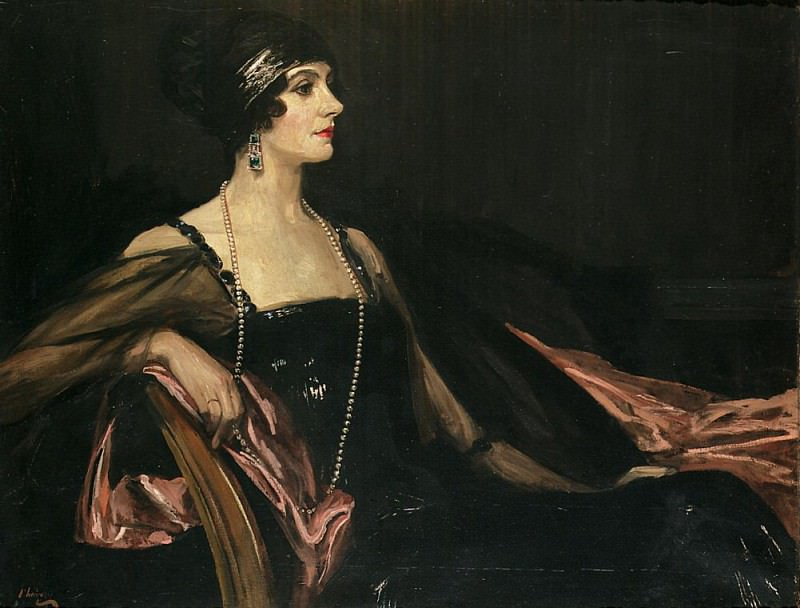 A Lady in Black: Portrait of Jean Ainsworth, Viscountess Massereene and Ferrard. Sir John Lavery