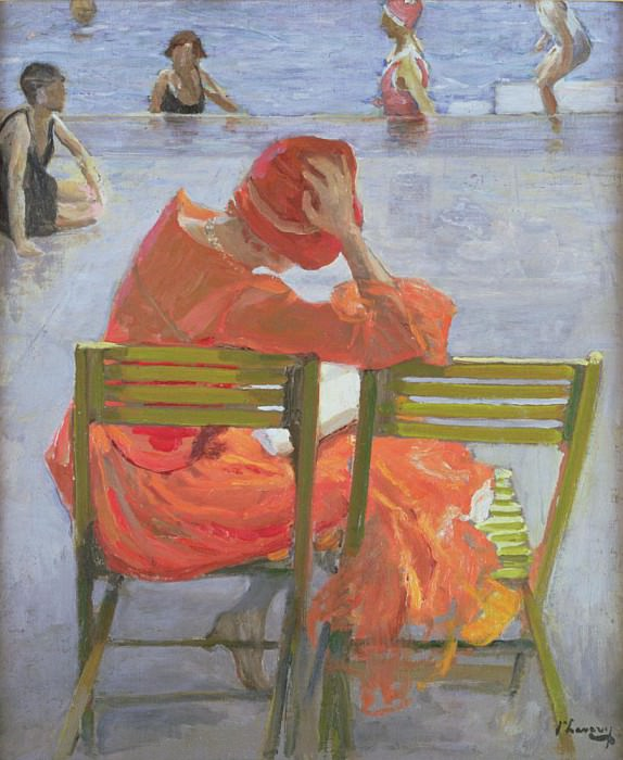 Girl in a red dress reading by a swimming pool. Sir John Lavery