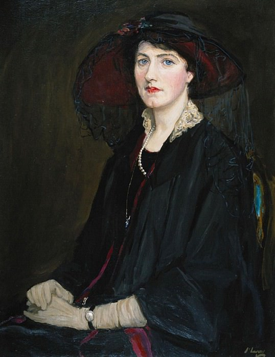 Portait of Lady Raeburn, seated half length, in a Lace Collared Jacket. Sir John Lavery