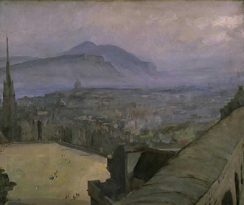 Вид Эдинбург из замка через эспланаду к Артурс Сит. сэр Джон Лавери
