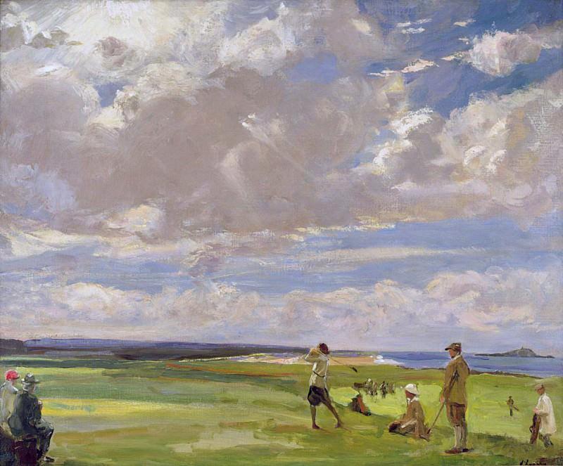 Леди Астор играет в гольф в Норт-Бервик. сэр Джон Лавери