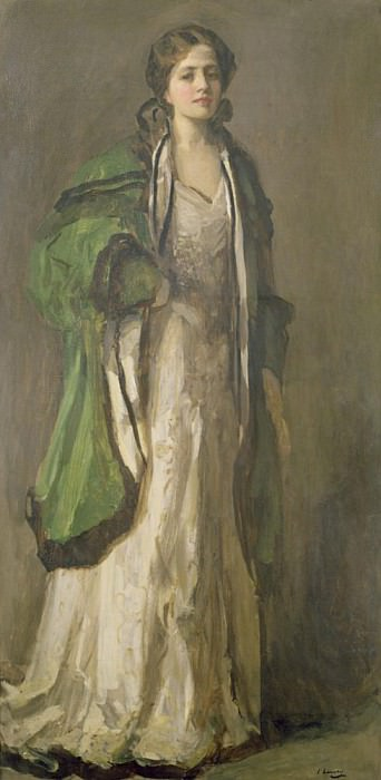 Lady in a Green Coat. Sir John Lavery