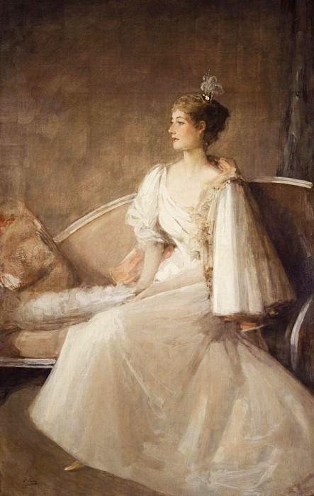 Леди, сидящая на диване. сэр Джон Лавери