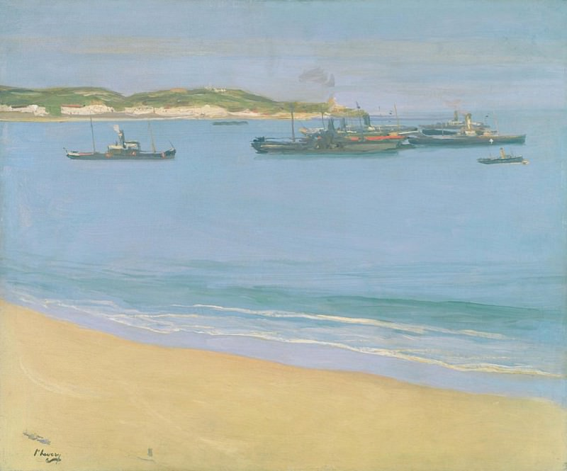 The Harbour at St. Jean de Luz - Early Morning. Sir John Lavery