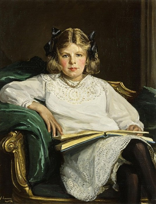 Portrait of Betty, three-quarter length seated, reading a Book. Sir John Lavery