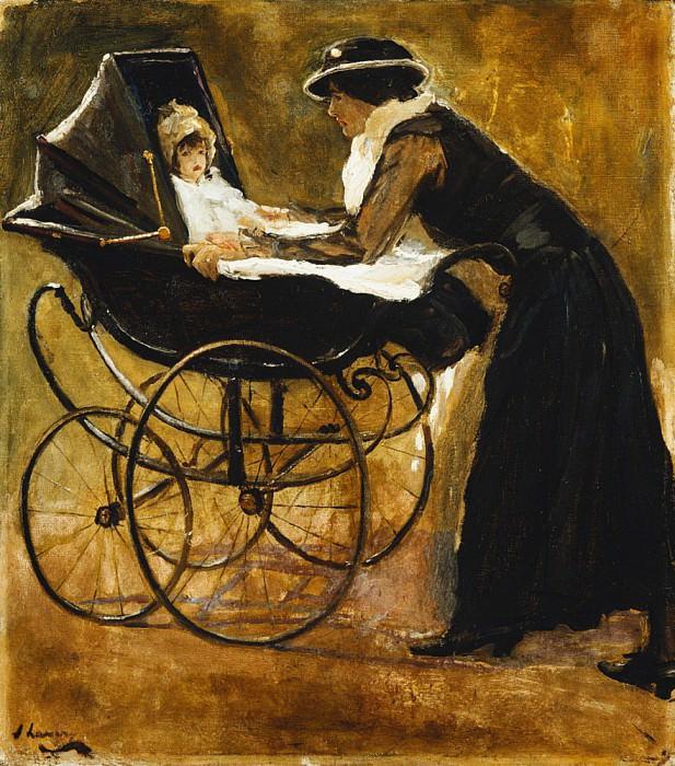 Молодая женщина укачивает ребёнка в коляске. сэр Джон Лавери
