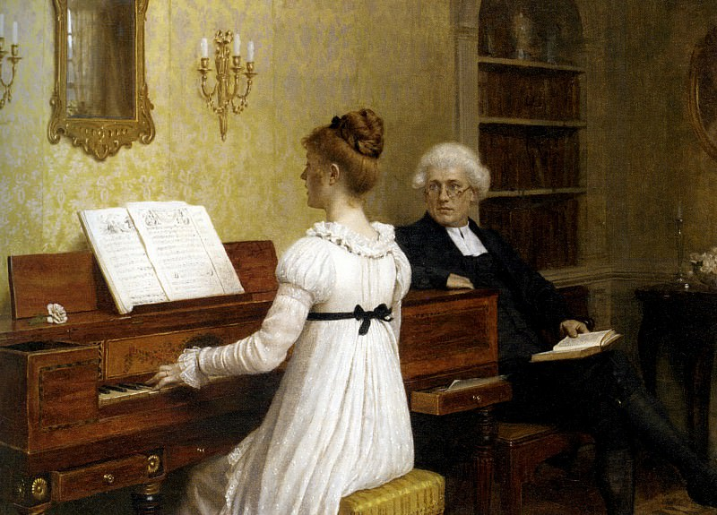 The Piano Lesson. Edmund Blair Leighton