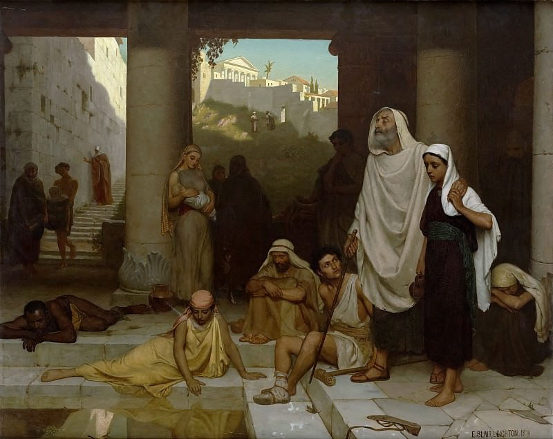 The blind man at the Pool of Siloam. Edmund Blair Leighton