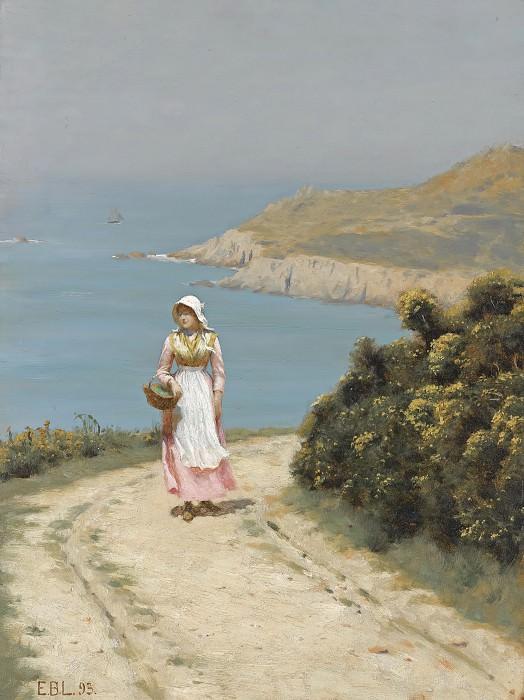 Girl On A Coastal Path. Edmund Blair Leighton