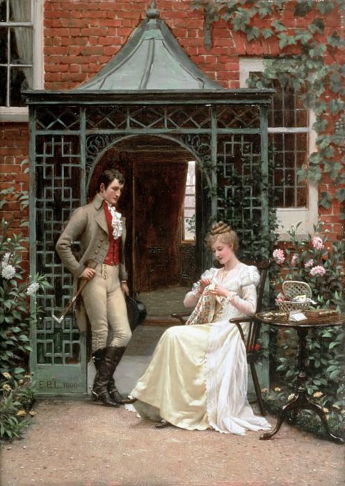 On the Threshold. Edmund Blair Leighton