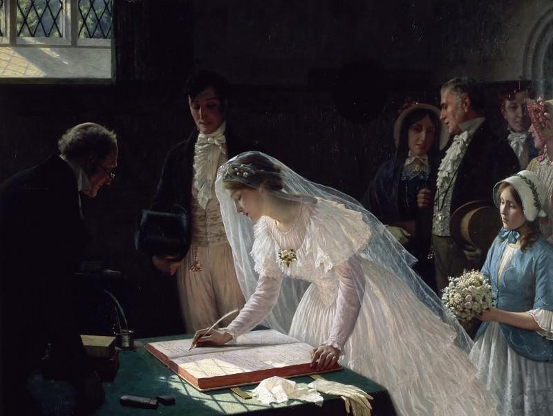 Signing the Register. Edmund Blair Leighton