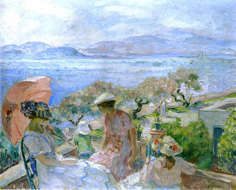 On the Terrace by the Sea at St Maxime. Henri Lebasque