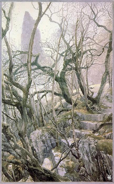 Alan Lee Tol Brandir A view of the Island (ma Tolkien28 ). Алан Ли