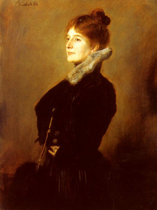 Portrait Of A Lady Wearing A Black Coat With Fur Collar. Franz von Lenbach
