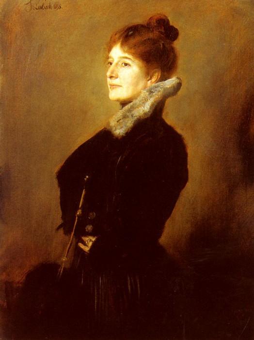 Портрет дамы в черном пальто с меховым воротником. Франц фон Ленбах