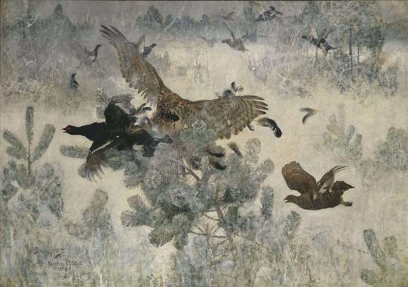 Hawk and Black-Game. Bruno Liljefors