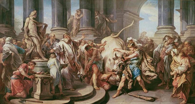 Theseus conquering the bull at Marathon. Charles-André van Loo
