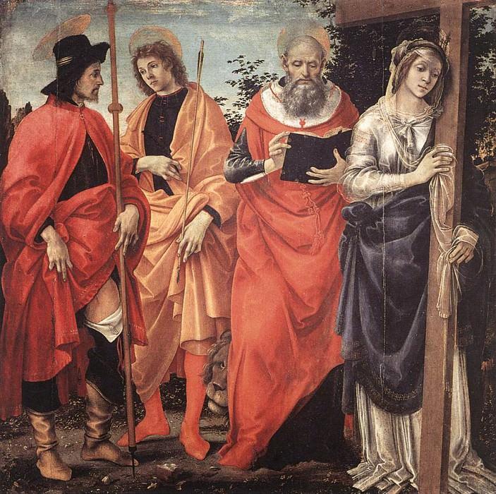 Алтарный образ - Четверо Святых, ок.1483. Филиппино Липпи