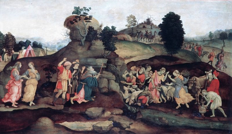 Moses brings forth Water out of the Rock. Filippino Lippi