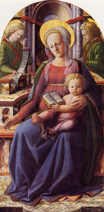 Madonna and Child enthroned with two Angels. Filippino Lippi